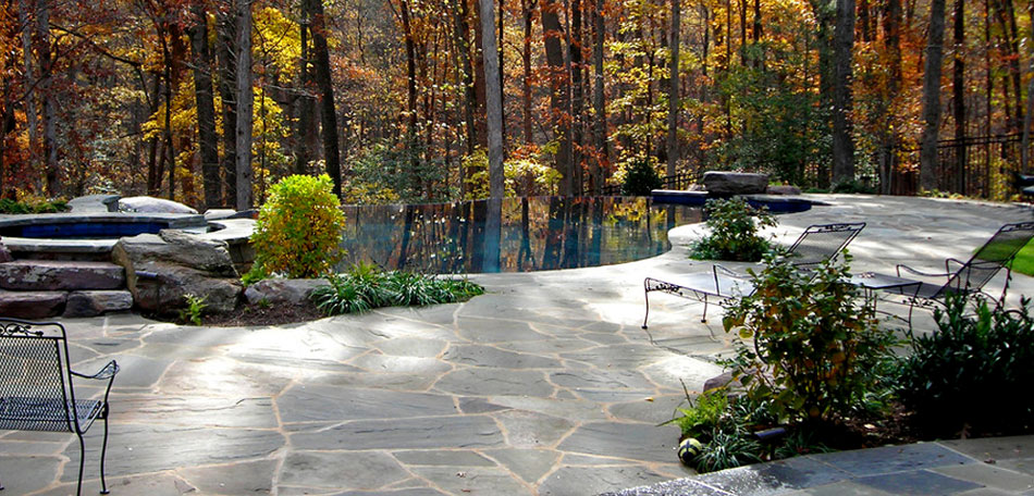 Fall Patio, Patio Furniture, Patio, Patios, Fall, Autumn, Patio Ideas, Patio Decor, Patio Pictures, Patio Photos, Patio Designs, Patio Decorating, Maryland, Pool, Infinity Pool, Woods, Foliage, Wrought Iron, Patio Furniture, Chair Lounge, Wrought Iron Chairs, Wrought Iron Chaise Lounges, Stone Patio, Flagstone, Shrubs
