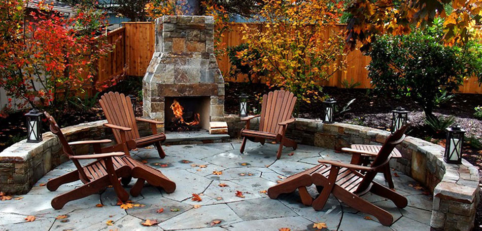 Fall Patio, Patio Furniture, Patio, Patios, Fall, Autumn, Patio Ideas, Patio Decor, Patio Pictures, Patio Photos, Patio Designs, Patio Decorating, Oregon, Portland, Fireplace, Chaise Lounges, Wood, Adirondack Chairs, Outdoor Chimney, Outdoor Fireplace, Stone Patio, Flagstone