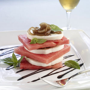 Watermelon Recipes: Watermelon Appetizers - Basalmic Caramelized Onion Caprese