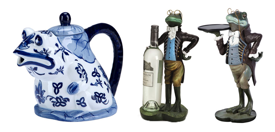 Bombay frog décor, frog teapot, frog wine holder, frog side table