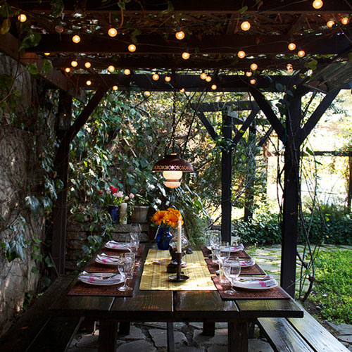 Outdoor lighting ideas for added sparkle bombay outdoors outdoor lighting ideas dining table string lights mood lighting outdoor decor workwithnaturefo