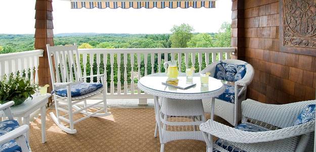Outdoor Tablescapes: Porch Chair and Table Setting - Lemonade - Cushions