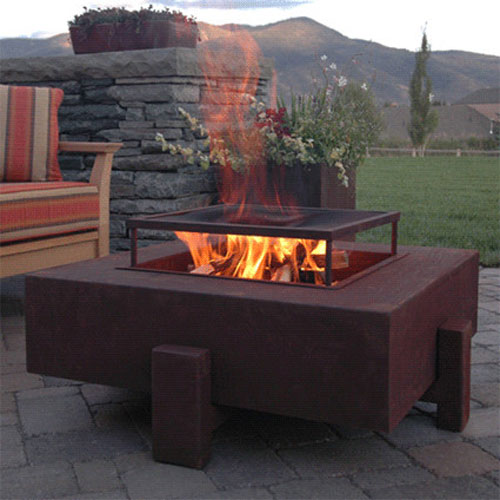 contemporary patio, fire pit cooking