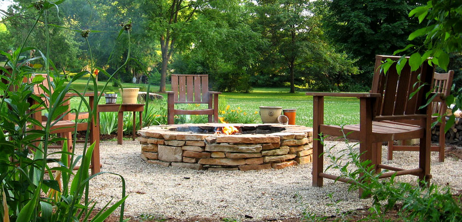 outdoor decorating ideas, 2014, stone fire pit, diy
