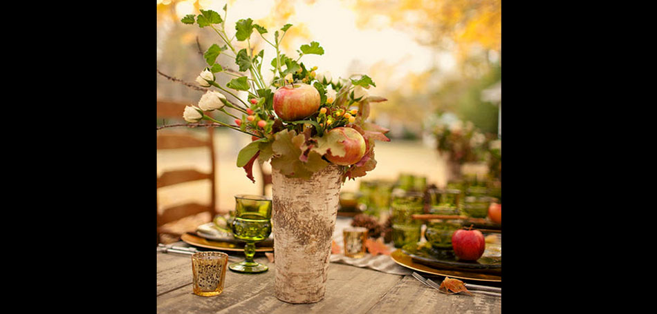 Fall Decorating: outdoor decorating, decorating ideas, porches, dining, dining tables, patio tables, table setting ideas, centerpieces, table centerpieces, fall centerpieces, autumn, fall, outdoors, tablescape, apples, roses