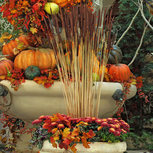 fall, autumn, patio, veranda, decor, hotel, luxury, fall colors, fall plants, outdoor decor, planters, pumpkins, gourds