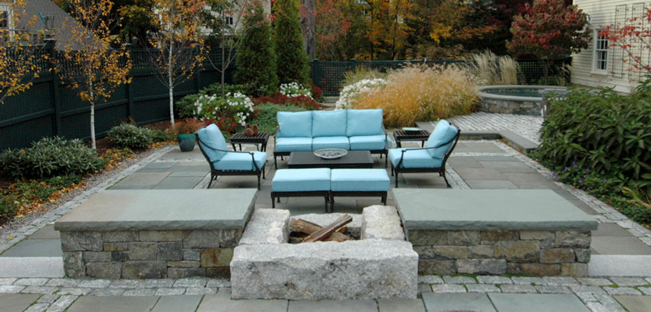 Fall Patio, Patio Furniture, Patio, Patios, Fall, Autumn, Patio Ideas, Patio Decor, Patio Pictures, Patio Photos, Patio Designs, Patio Decorating, New England, Massachusetts, Boston, Deep Seat, Patio Chairs, Modern Patio Furniture, Patio Cushions, Wood-burning Fireplace, Stone Fireplace, Granite, Stone Patio, Fieldstone