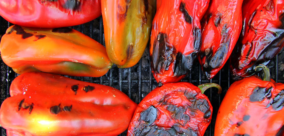 grilling peppers, fire pit cooking