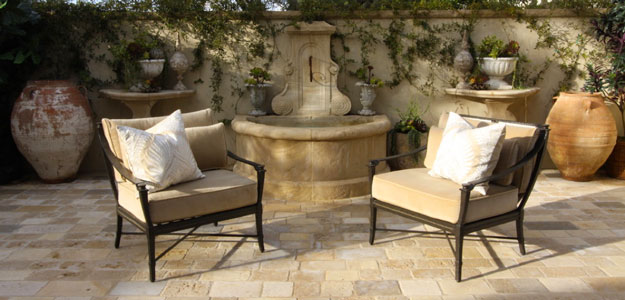 Global Decor: European Inspired - Europe - Mediterranean - French - France - Patio Furniture - Wrought Iron Patio Chairs - Limestone - Patio Tiles