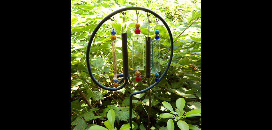 garden oasis, glass wind chimes