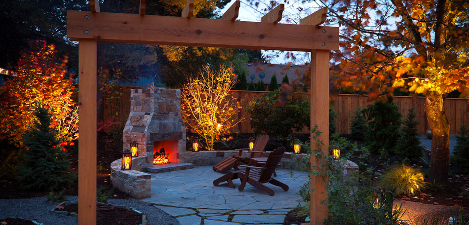 Fall Patio, Patio Furniture, Patio, Patios, Fall, Autumn, Patio Ideas, Patio Decor, Patio Pictures, Patio Photos, Patio Designs, Patio Decorating, Oregon, Portland, Lanterns, Mood Lighting, Fireplace, Adirondack Chairs, Fire, Evening, Outdoor Chimney, Outdoor Fireplace, Stone Patio