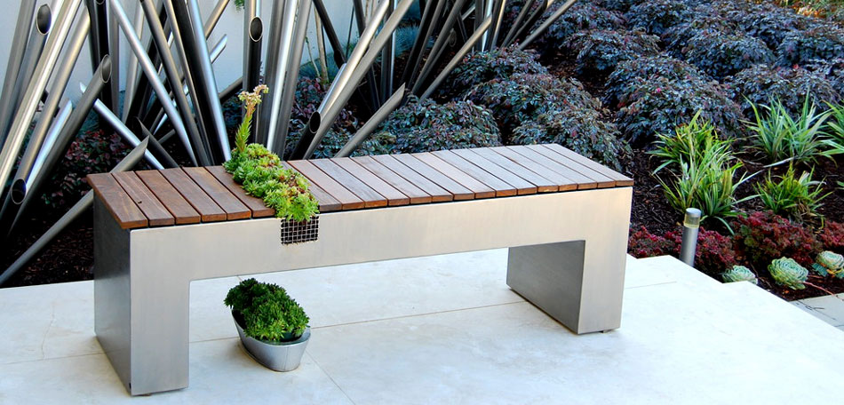 outdoor decorating ideas, 2014, patio bench planter, plant container bench, modern, asian style