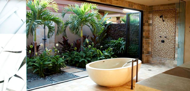 Enjoy these tranquil outdoor living spaces bombay outdoors for How to decorate a garden tub bathroom