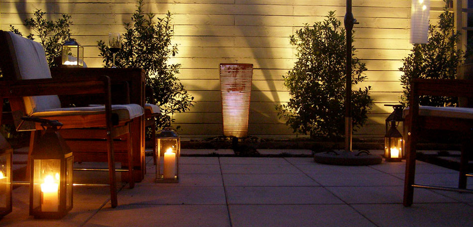 outdoor lighting ideas, courtyard, decor, candles, mood lighting