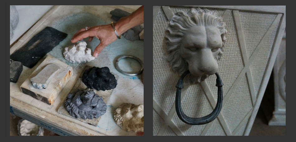 Bombay Outdoors designing, molding planters, sculpting planters, finished lion planters