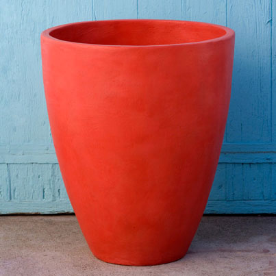color trends 2014, 2014 color trends, bright color, bright red planters, colorful pot, sculptor, Mary Oros
