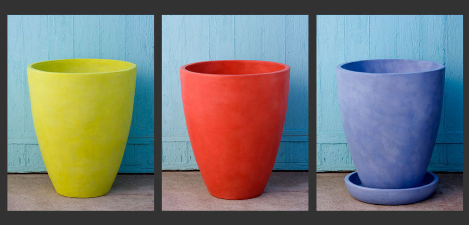 color trends 2014, 2014 color trends, bright colors, colorful planters, colorful pots, sculptor