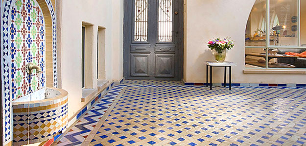 Global Decor: African Inspired - Africa - Moroccan - Morocco - Patio - Fountain - Floor - Tiles - Tiling