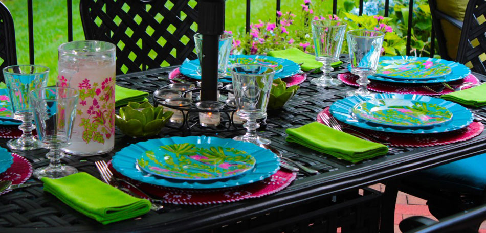 tablescape ideas, neon green tablescape