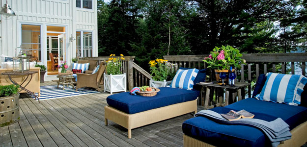 Wicker Patio Furniture: Canada - Ontario - Lake Joseph - Wicker Chaise Lounges - Lakeside - Patio - Deck - Pillows - Patio Cushions
