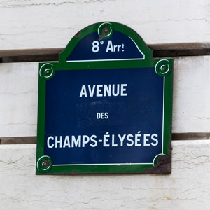 Paris Attractions - Champs Élysées street sign