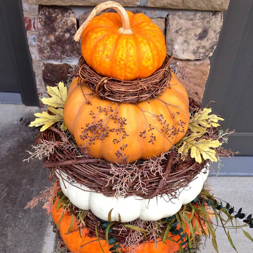 pumpkin topiary, porch idea