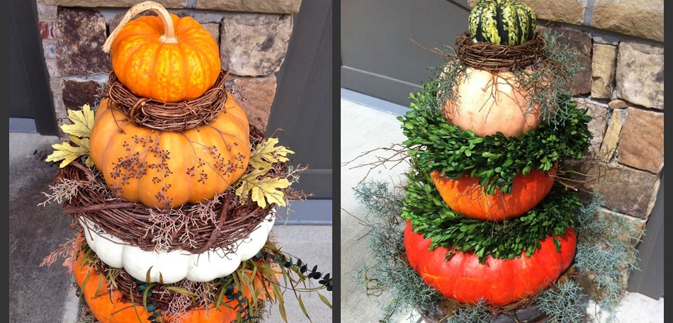 pumpkin topiary styles, porches
