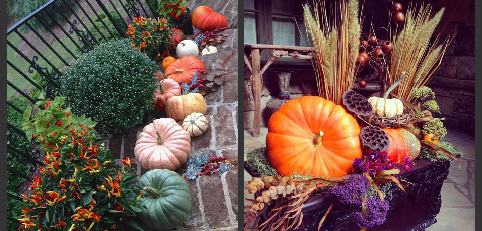pumpkin topiary ideas, stairs, porches