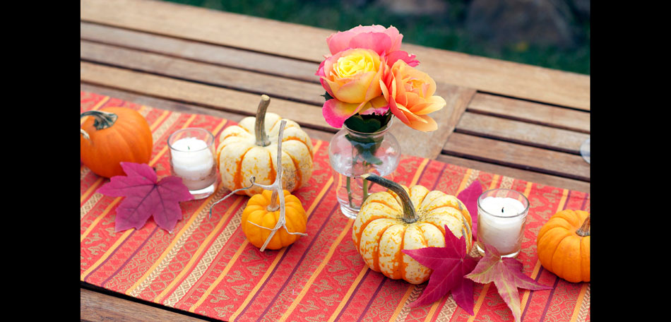 Fall Decorating: outdoor decorating, decorating ideas, porches, dining, dining tables, patio tables, table setting ideas, centerpieces, table centerpieces, fall centerpieces, autumn, fall, outdoors, tablescape, pumpkins, miniature pumpkins, roses, candles, table runner, leaves, contemporary, modern