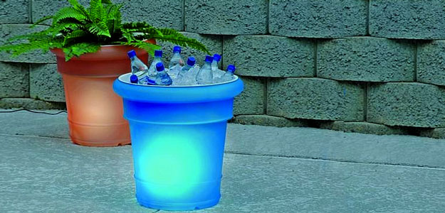 Decorating with Color: Bright Colors - Carla - Style - Solar Lighted Planters - Patio Ideas