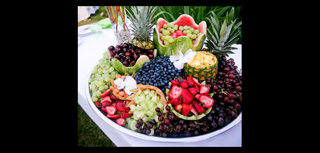 Table Decoration Ideas: Table Decorations, Table Decorating, Fruit, Display, Fruit Display, Platter, Melon, Blueberries, Strawberries, Colorful