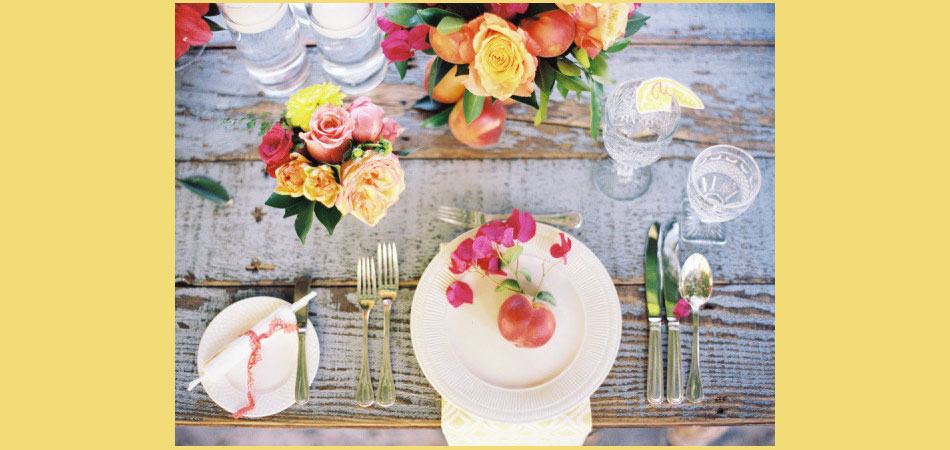 tablescape ideas, sunset colors