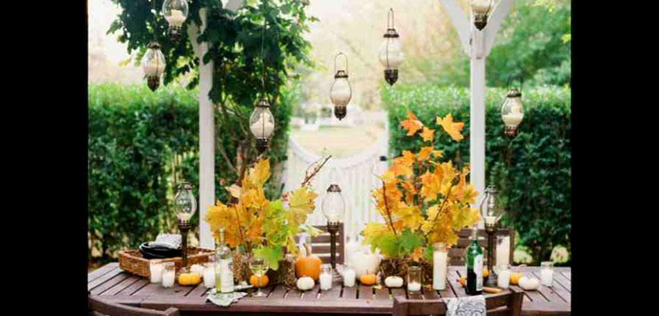 Fall Decorating: outdoor decorating, decorating ideas, porches, dining, dining tables, patio tables, table setting ideas, centerpieces, table centerpieces, fall centerpieces, autumn, fall, outdoors, tablescape, patio, shelter island, Long Island, New York, patio tablescape, dining table, party, lanterns, leaves, gourds, closer look