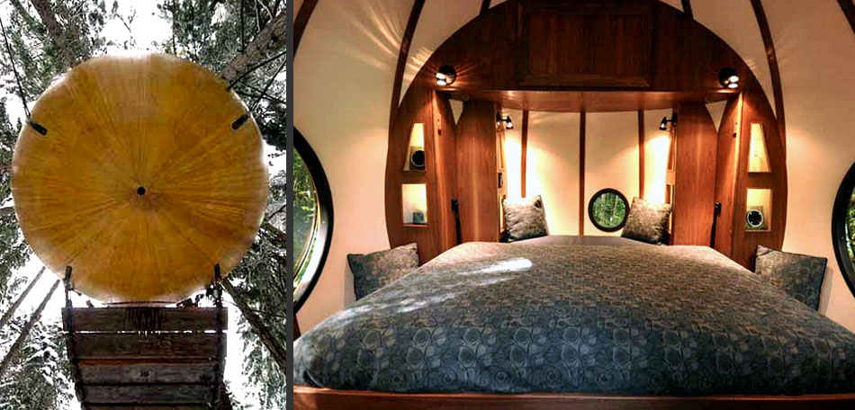 glamping, spheres, trees, Canada