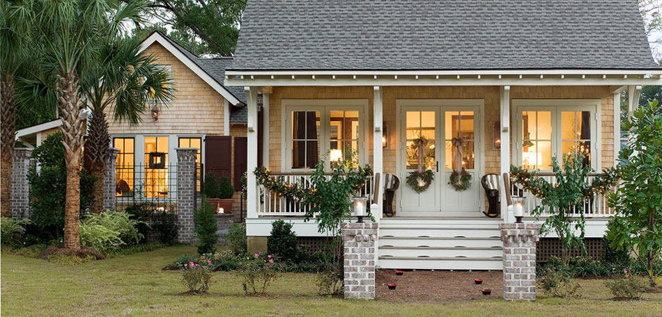 Holiday Decorations Brighten Winter on small house plans with porches one story
