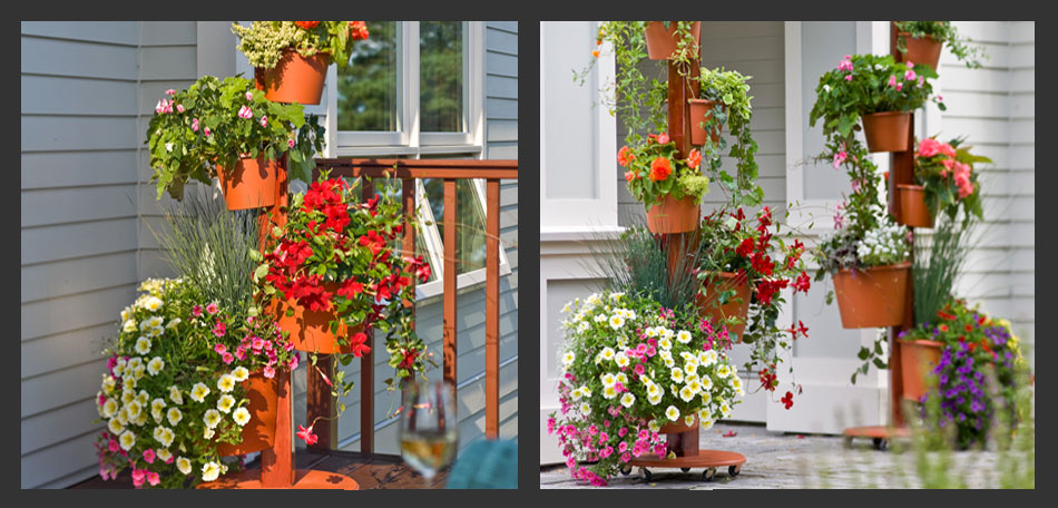 Vertical Gardening, Pots On Posts, Stacked Planters