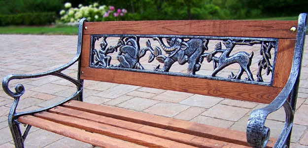 Wrought Iron Animals: Animal Outdoor Décor - Wrought Iron Bench - Garden Bench
