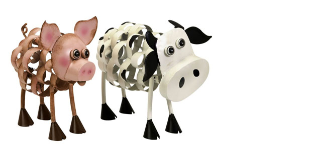 Wrought Iron Animals: Animal Outdoor Décor - Garden Art - Wrought Iron - Pig and Cow